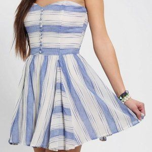Lucca Couture White & Blue Striped Strapless Dress
